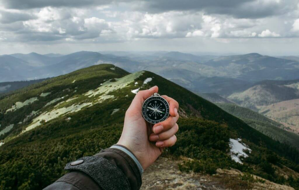 Compass on mountain