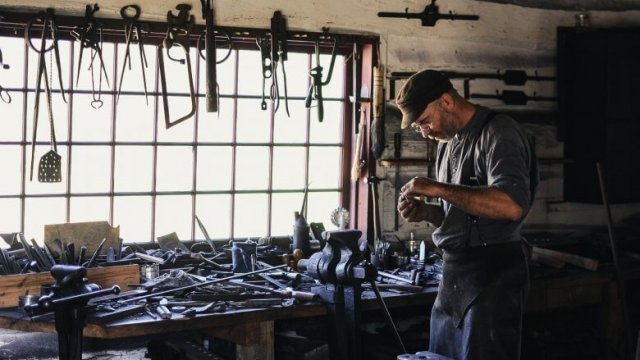 Man working with his hands